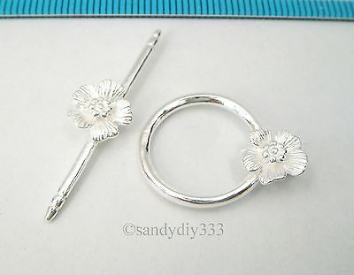 1x STERLING SILVER BRIGHT FLOWER ROUND TOGGLE CLASP 17.4mm #2518