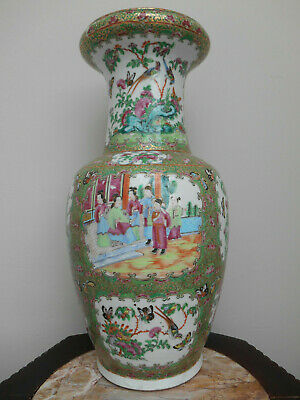 Large antique canton famille rose medallion vase // 19th century