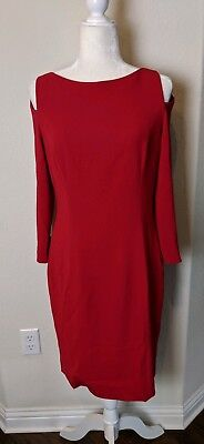 a4f06198 Tom and Linda Platt Women's Dress Size 8 Red Shift Cutout Cold Shoulders  Holiday