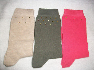 Three (3) Pairs Girls Lovely Mixed Plain Colours Socks Age 11+ Years New