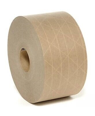 2 Rolls 2.75in ( 70mm) X 375' Reinforced Gummed Kraft Paper Tape Water Activated