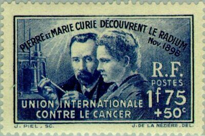 EBS France 1938 Discovery of Radium - Pierre & Marie Curie YT 402 MNH** cv $43