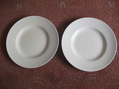 TWO  Woods Ivory Ware  25cm  Dinner Plates   CROWN ON BACK OF PLATE & ENG