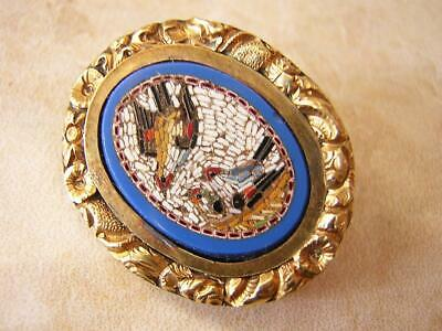 Antique Victorian Micro Mosaic Brooch Pin In Gold Mount With 3 Birds  Grand Tour