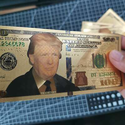 10Pcs President Donald Trump Colorized $100 Dollar Bill Gold Foil Banknote US