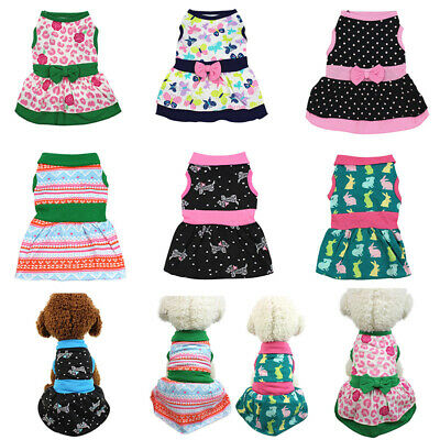 Summer Pet Puppy Dress Bow Floral Skirt Apparel Small Dog Cat Pet Clothes XS-XL
