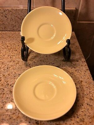 """1940'S 50's (2) YELLOW LU-RAY PASTELS (TS&T) TAYLOR SMITH & TAYLOR  CUP PLATE 6"""""""