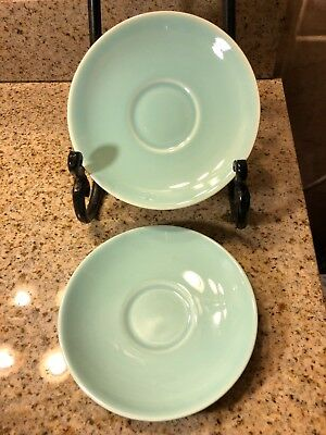 """1940'S 50's  (2) GREEN LU-RAY PASTELS (TS&T) TAYLOR SMITH & TAYLOR  CUP PLATE 6"""""""