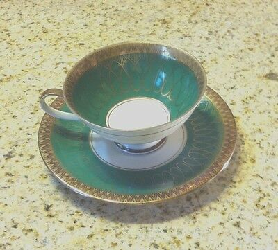 Bareuther, Bavaria Emerald ,Gold and Ivory Geometric Design Cup And Saucer #156