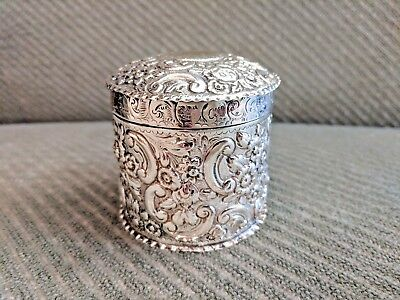 Antique Victorian Sterling Silver Vanity Pot - 1890 Deakin & Francis