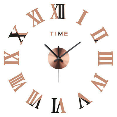 Large Silent DIY 3D Wall Clock Roman Numerals Mirrors Surface Luxury Art Clock