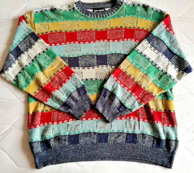 Mens Knitted Sweater Jumper Enzo Lorenzo Vintage Multi-Coluor Size 58 Rare