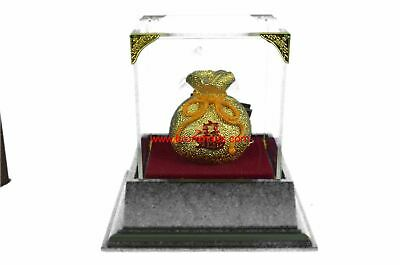 Gold & Silver Plated I Ching Lucky Money Bag Sculpture & Display Case