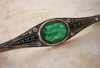 French Antique Edwardian Art Deco Silver Emerald & Diamond Paste Brooch Pin