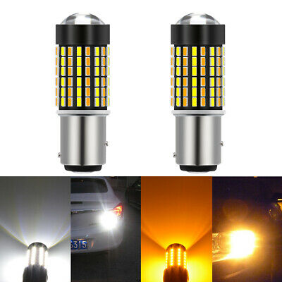 2x 1157 3157 7443 Dual Color White Amber LED Switchback Turn Signal Light Bulbs