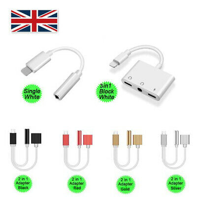 UK Headphone Jack Adapter Cable Converter With Charger Option For iPhone 7 8 X