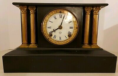 Antique Working 19th C. ANSONIA Victorian Black Iron Pillar Column Mantel Clock