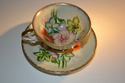 Vintage Shafford Hand Painted Floral Pattern  Tea Cup And Saucer