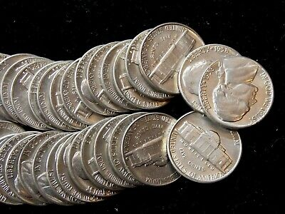 """1958 """"D"""" Jefferson Nickel 5c (40 Coin Roll) GEM BU East Coast Coin & Collectable"""