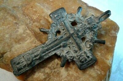 "RARE ANTIQUE 18-19th CENTURY LARGE ""OLD BELIEVERS"" ORTHODOX ""SUN"" CROSS PSALM 51"