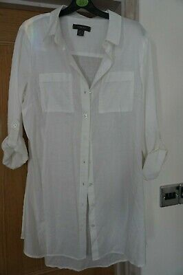 61bf389489 Atmosphere Primark 100% Cotton size 12 White Shirt Top Beach Cover Up NEW