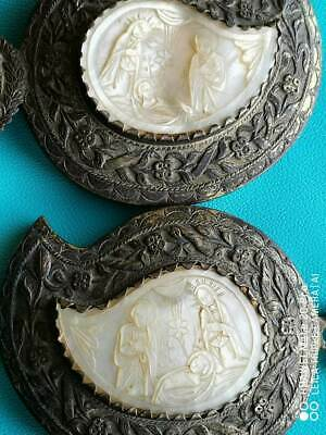 Antique Original Silver Belt Buckle (pafti) Mother of Pearl. Greece. Balkans. Re