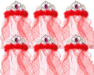 Bride To Be Tiara Hen Night Crown With Veil Red Bulk Girls Womens Party Hat