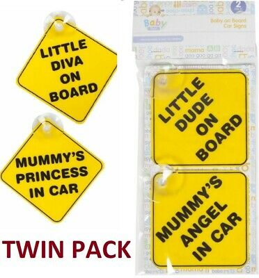 Baby on Board Child Safety Suction Cups Car Vehicle Car Sign Little Diva Mummy's