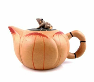 YiXing Zisha Clay Hand Crafted Unique Teapot Lotus Body & Frog Lid #04101901