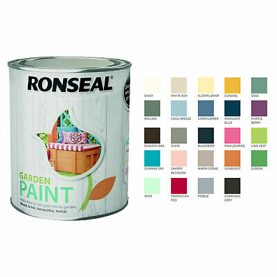 Ronseal Garden Paint 750ml 24 Colours  - For Wood Brick Terracotta Metal Outdoor