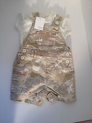 BNWT NEXT Unisex White Tshirt and Dungarees Set Beige Khaki print up to 3 months