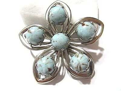 Pin Vintage Silver Tone Plated Metal Flower Faux Turquoise Color Marbled Stones