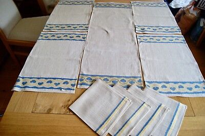 UNUSED RUSTIC UNBLEACHED IRISH LINEN TABLE MATS: Runner 4 Placemats 4 Napkins