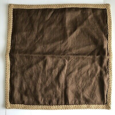 "Pottery Barn Jute Braid  Linen Pillow Cover RUST 20"" X 20"""