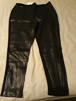 Next Black Leather Look Pull on Leggings - Size 18 - New with Tags .............