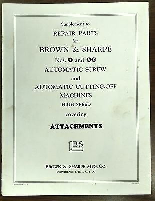 Brown & Sharpe No O & OG Auto Screw and Auto Cut-off Machines Attachments Manual