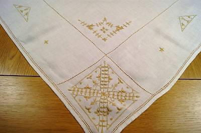 VINTAGE WHITE LINEN TABLECLOTH Golden Embroidery & Ladderwork #T38