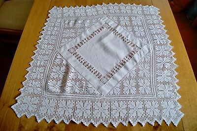 """VINTAGE WHITE LINEN TABLECLOTH Drawn Thread Needlelace Crochet Lace 29"""" Sq #T41"""