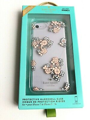 Kate Spade Apple iPhone 6 6S 7 8 Cover Clear Hardshell ROSE GOLD FLORAL Crystals