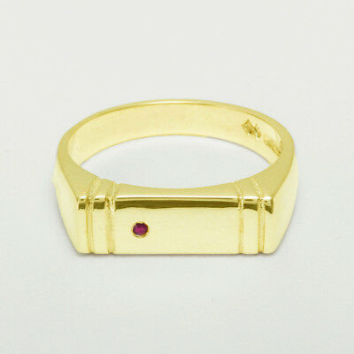 14ct Yellow Gold Natural Ruby Mens Band Ring - Sizes N to Z