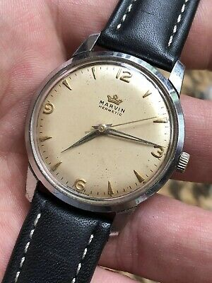 Vintage 1950s Marvin Hermetic Mens Watch Swiss Made Hand-winding