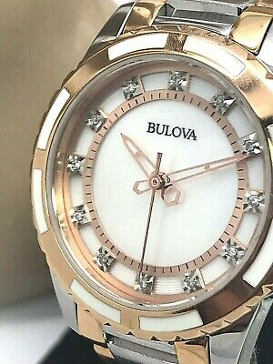 Bulova Women's 98P134 MOP Diamond Dial Quartz Two Tone Stainless Steel Watch