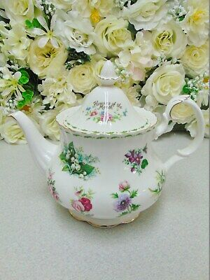 Royal Albert Flower of the Month Teapot -MINT 1st Quality.