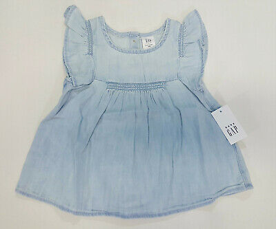 b613f6cd5 NWT Baby Gap Girls Size 0 3 6 12 18 24 Months Denim Chambray Flutter Sleeve