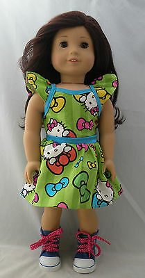 """Hello Kitty bow-tiful dress fit 18"""" dolls and american girl dolls"""