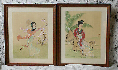 2 Framed Chinese Watercolours Graceful Ladies Possibly Hung Lou Meng Characters