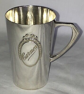 Antique German WMF Silver Plate Christening Cup Monogrammed Carmen Ostrich Mark