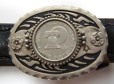 NEW USA AMERICAN ONE DOLLAR COIN LIBERTY BELL BELT BUCKLE SILVER METAL WESTERN