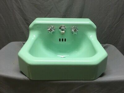 Vtg Mid Century Art Deco Jadeite Green Porcelain Old Cast Iron Bath Sink 46-19E