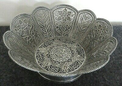 Fine antique Middle Eastern white metal/silver filigree bowl.